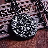 Pendentif Yin Yang Dragon et Phoenix - Natural Obsidian
