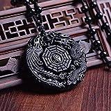 Anhänger Yin Yang Drache und Phoenix - Natürliche Obsidian