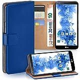 moex LG G2 | Hülle Blau mit Karten-Fach 360° Book Klapp-Hülle Handytasche Kunst-Leder Handyhülle für LG G2 Case Flip Cover Schutzhülle Tasche