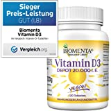BIOMENTA VITAMIN D3 HOCHDOSIERT | 20000 I. E. | AKTION!!! | VEGAN | Vitamin D3 DEPOT: 1 Tab. Vitamin D /20 Tage | 120 Vitamin D3 Tabletten aus Cholecalciferol