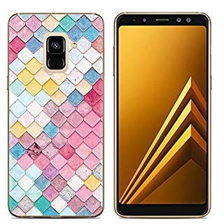 Samsung Galaxy A6 Case,Aksuo Women Girls boy Men Printed Clear Design Transparent Plastic Case with TPU Bumper Protective Cover,Colorful Scales
