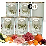 AniForte® PureNature Nassfutter 5+1 getreidefrei Probierpaket 6x400g Huhn Wild Pute Lamm Rind Hundefutter- Naturprodukt für Hunde