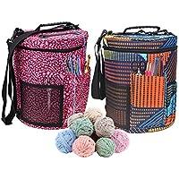 Bolsa de lana para tejer, tamaño grande, cilindro, ganchillo, bolsa de almacenamiento para la máxima organización de ganchillo y hilo de tejer B