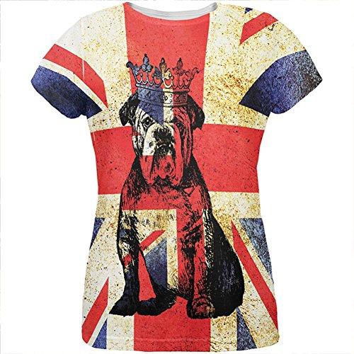 Britische Flagge T Shirt (Englische britische Bulldogge Krone Grunge Flagge aller Damen-T-Shirt Multi SM)