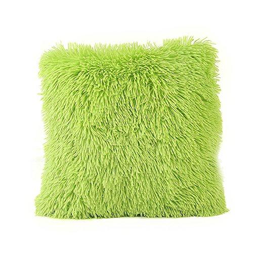 Kissenhülle Wurfkissenbezug Kissenbezug für Sofakissen Dekokissen Plüsch Kissenbezüge Zierkissenbezug für aus Super Weicher und Flauschiger 43x43 cm (Grün)