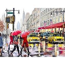 Lluvia de la calle, Pintura al óleo de DIY Digital por números, pintado a mano Decoración casera Arte de la pared , Frameless