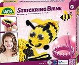 Lena 42683 - Strickset Biene, Komplettset zum Stricken einer lustigen Biene mit Strickring, Metall Strickhaken, Nadel, Garn, Bienenflügel, Pfeifenreiniger und Augen, Bastelset für Kinder ab 6 Jahre