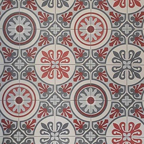 livingfloor® PVC Bodenbelag im Boho Orient Stil Fliesendekor Rot/Grau 1m Breite, Länge variabel Meterware, Größe:2.50x1.00 m