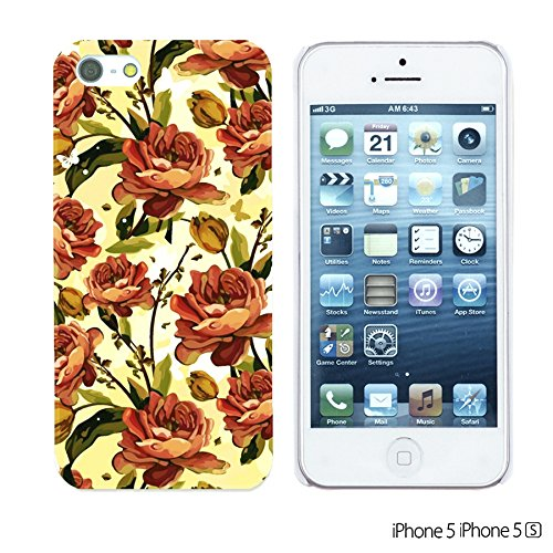 OBiDi - Flower Pattern Hardback Case / Housse pour Apple iPhone SE / Apple iPhone 5S / 5 - Red Rose With Skull Orange Roses