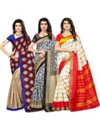 Oomph! Women's Raw Silk Printed Sarees Combo - Multi_combo3_75brn8065blk