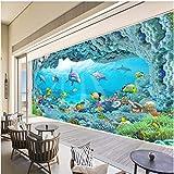 Fototapete 3D Tapete Delphin- Aquarium-Fisch-Koralle3D Effekt Vliestapete Wandbilder Wanddeko