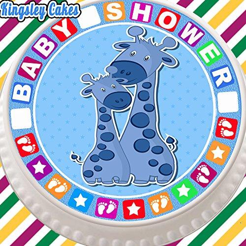 vorgeschnittenen Essbarer Zuckerguss Cake Topper, 19,1cm rund Baby Dusche blau Giraffe mit niedlichem Bordüre (Blaue Baby-dusche Giraffe)