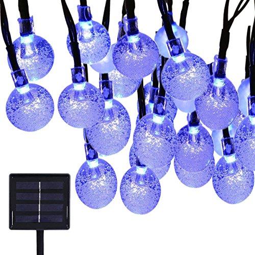 Solar Lichterkette,KINGCOO 6M 30LED 2 Modus Solarbetrieben Kugel Außenlichterkette Wasserfest Weihnachten Dekoration für Garten Haushalt Party Hochzeit Weihnachtsbeleuchtung Beleuchtung (Blau) (Dekorationen Kugeln Blaue)