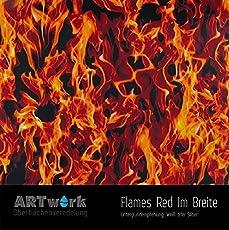 Wassertransferdruck Folie Artwork Flames Red 1m Breite