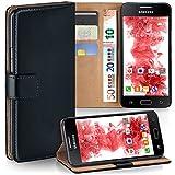 moex Samsung Galaxy J1 (2015) | Hülle Schwarz mit Karten-Fach 360° Book Klapp-Hülle Handytasche Kunst-Leder Handyhülle für Samsung Galaxy J1 2015 Case Flip Cover Schutzhülle Tasche