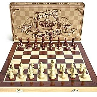 aGreatLife® Holz - Schachspiel: Universales Standard Holz Schachbrettspielsatz - Handgefertigte mit 15-Zoll Brett und Mit Magnetverschluss - Perfektes Anfänger - Schachspiel für Kinder