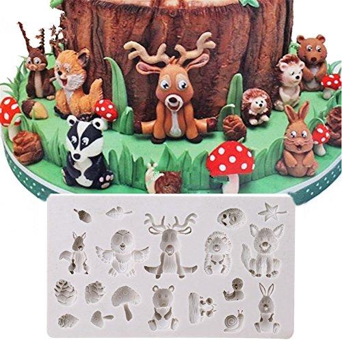 Timetries Wald Tiere Silikonform Muffin Schokolade Süßigkeiten Form Kuchen Dekorieren Werkzeuge DIY Backen Fondant Formen Silikon Kuchenform Backen Form