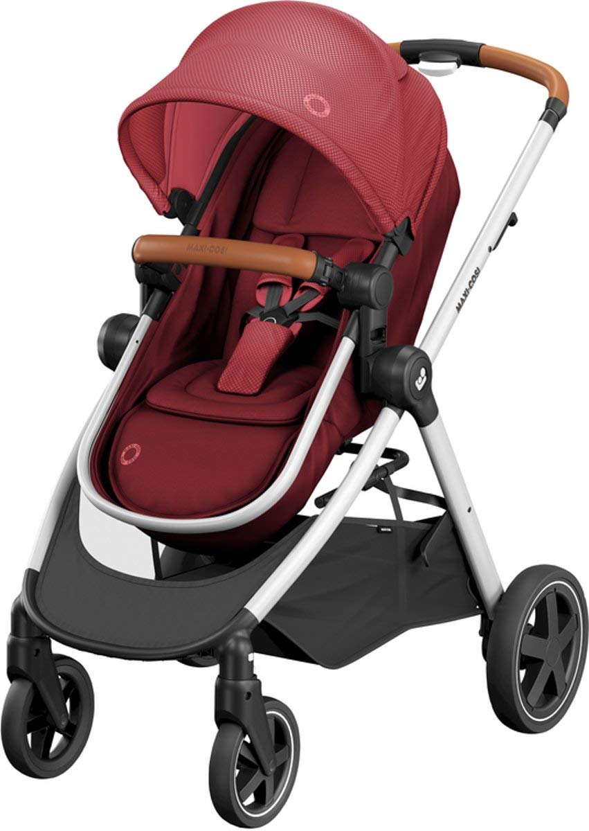 Maxi-Cosi Zelia Baby Pushchair, Lightweight Urban Stroller from Birth, Travel System with Bassinet, 15 kg, Essential Red Maxi-Cosi Flexible stroller from birth to 3.5 years 2-in-1 seat unit: zelia's seat transforms into a pram bassinet for use from 0 - 12 m in a single movement This city stroller is easy to carry thanks to its lightweight 1
