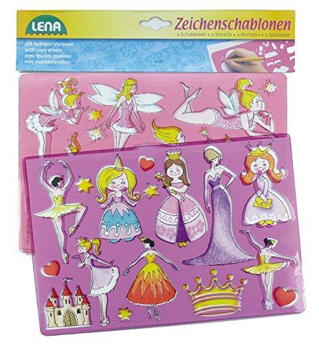 SIMM Spielwaren Lena 65766-2 caractères pochoirs Princesses et Elfes, env. 26 x 19 cm