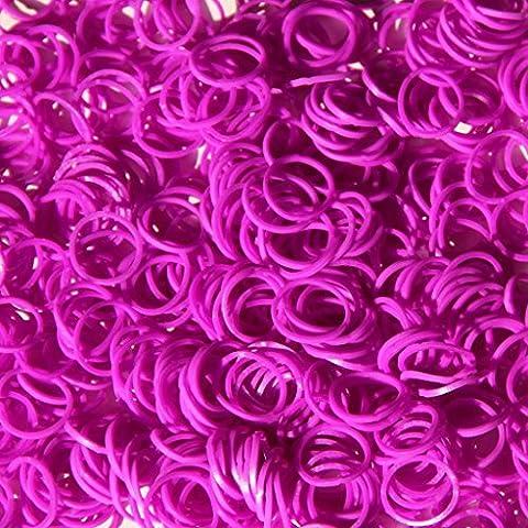 ETHAHE 300 Loom Rubber Bands Elastiques Violets Bracelet à Tricoter sans Latex avec 12 S-Attaches