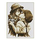 Eizur DIY Handmade Needlework Punto Croce primo bacio Ricamo Kit Precisa Stampato decorazione domestica Taglia 32*40cm--Con Borsa degli attrezzi