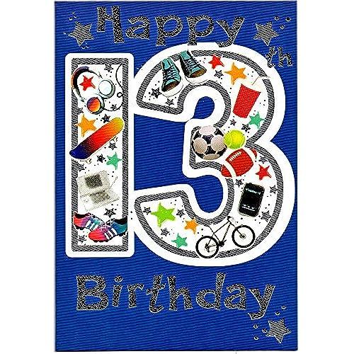 Birthday cards for boy 13 amazon birthday card thirteen 13 year old boy free 1st class post uk bookmarktalkfo Images