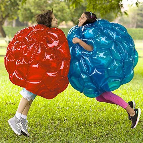 YANGMAN Set von 2 aufblasbaren Wearable Buddy Bumper Zorb Balls, Durable Thick 0.3 mm PVC Viny Bubble Soccer Outdoor Game für Kinder und Erwachsene 2,9 Fuß,1xRed/1xBlue