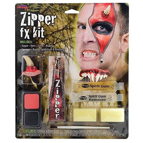 Zipper FX Kit - includes Zipper Horn Teeth Red Make up Black Make Up Sponges Brush Spirit Gum & Spirit Gum Remover Scary Teeth Horror Horns Scary Teeth Halloween Accessories Vampire Devil Vamp Male Female by Palmer (Zipper Fx Kit)