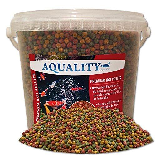 AQUALITY PREMIUM KOI PELLETS 6 mm | 10.000 ml (Hervorragendes Fischfutter für alle Fische im Gartenteich geeignet und enthält viele wertvolle natürliche Inhaltsstoffe, Vitamine und Spurenelemente, die für eine gesunde Entwicklung und intensive Farbausprägung der Fische sorgen)