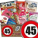 Süßigkeiten Box | DDR Produkte | Zahl 45 | Geburtstags Geschenk Mutter