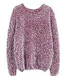 Qitun Damen Pullover Weich flauschig Kuschel-Pullover mit Rundhalsausschnitt Burgunderrot