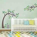 decalmile Koala and Tree Branch Wall Decals Dragonflies Koala Bear Kids Wall Stickers Baby Nursery Childrens Bedroom Wall...