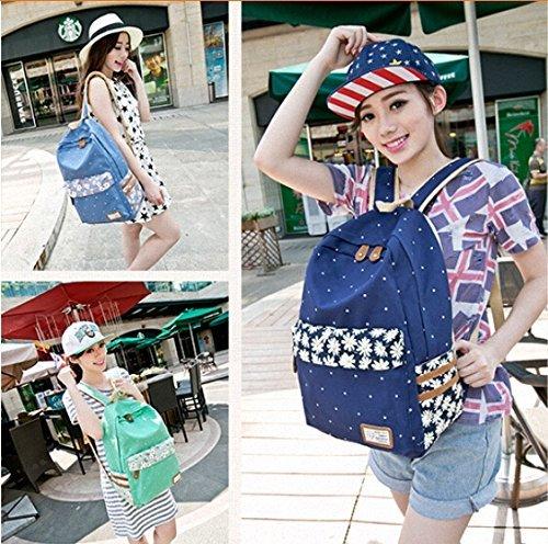 WanYang Rucksack Polka Punkt Süße Backpack Schultasche Reisetasche Canvas Frauen und Mädchen Minz Grün
