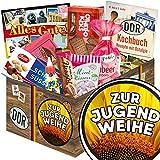 Zur Jugendweihe | DDR Suessigkeiten-Box | Geschenkset | Zur Jugendweihe | Ostpaket | Geschenk Jugendweihe Junge | mit Puffreis Schokolade, Viba, Zetti und mehr