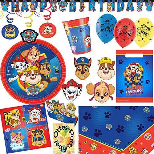 HHO Paw Patrol Party-Set 70tlg. Teller Becher Servietten Tischdecke Tüten Einladung Banner Luftballon Masken Swirl für 8 Hundefans