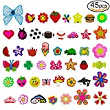 #4: 45pcs Cute Shoe Charms for Crocs Shoes Wristband Bracelet Kids Party Birthday Gifts by V-story