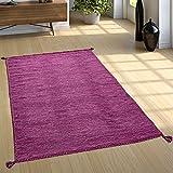 Paco Home Designer Teppich Webteppich Kelim Handgewebt 100% Baumwolle Modern Meliert Lila, Grösse:200x290 cm
