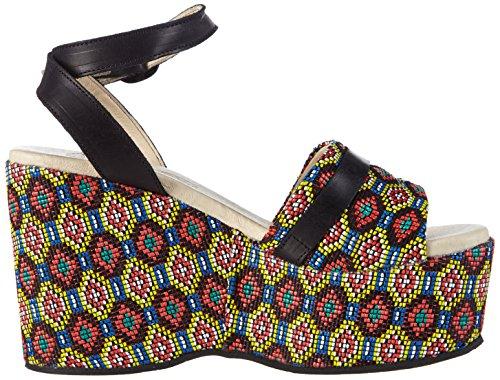FLY London SALA513FLY, Sandales à plateforme et talon compensé femme Multicolore - Mehrfarbig (MASAI/BLACK 000)
