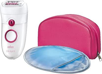 Braun Silk-épil 5 Power 5185 Épilateur Électrique Femme; 3 Accessoires Massage; Gant Refroidissant et Pochette Rose