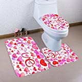 Toilet Covers Set,Clode® 3Pcs/set Valentine's Day Pattern Non Slip Toilet Seat Cover Mat Removable Home Decoration Pedestal Rug + Lid Toilet Cover + Bath Mat (Red 5)