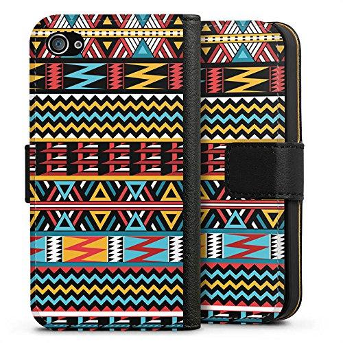 Apple iPhone X Silikon Hülle Case Schutzhülle Ethno Style Muster Tribal Sideflip Tasche schwarz