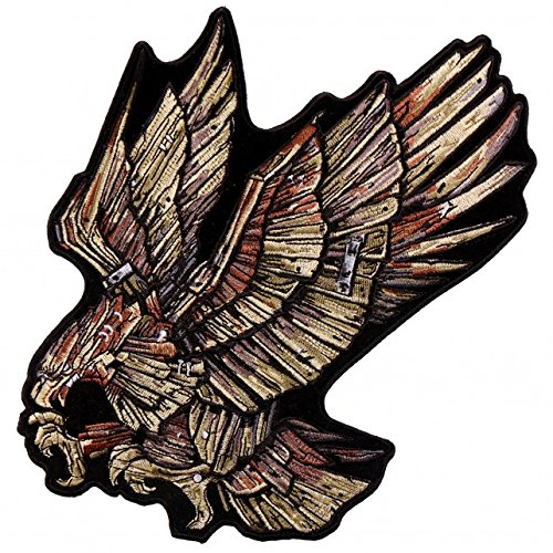 WOOD EAGLE, High Thread Embroidered Iron-On / Saw-On, Heat Sealed Backing Rayon PATCH - 8