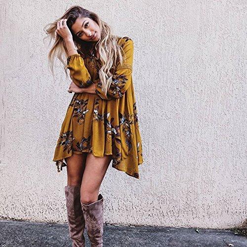 Simplee Apparel Damne Sommer Knielang Kleid Elegant Baumwolle Langarm Blumen Mini Kleid Boho Strandkleid Gelb