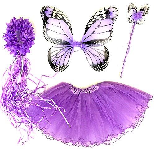 2 Kostüm Jährigen Für Einen - Tante Tina - Schmetterling Kostüm für Mädchen - 4-teiliges Set - Feenflügel / Schmetterlingsflügel Verkleiden - Monarchfalter Violett