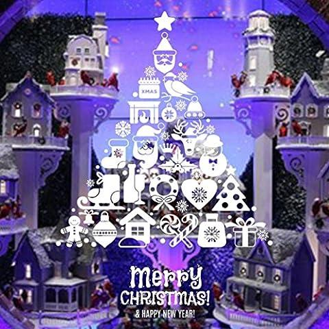 sunnymi Weihnachten Wand Aufkleber Abnehmbar Weihnachtsbaum Wanddeko Weihnachtsbaum Wandtattoo DIY Wandaufkleber für Weihnachts Fenster Sticker Dekoration (Weihnachtsbaum, Weiß)