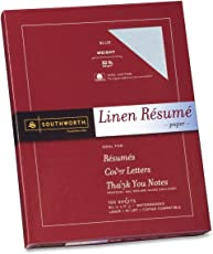 Southworth Linen Résumé Paper, Blue, 32 Pounds, 100 Count (RD18BCFLN)