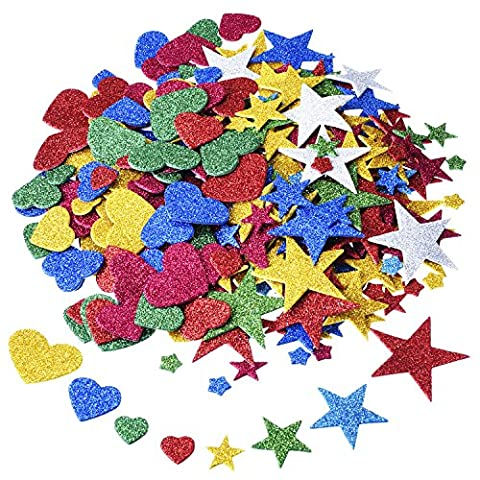Outus 2.1 Ounce 170 Pieces Foam Glitter Stickers, Star and