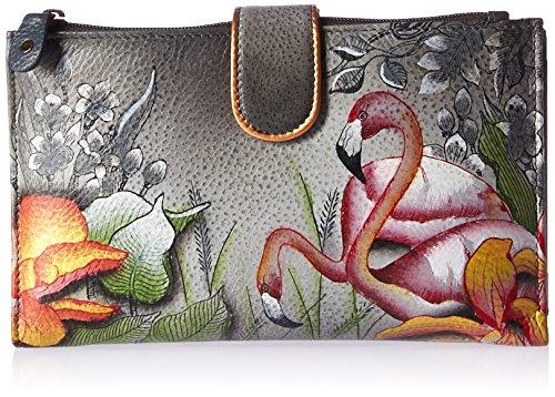 Anuschka handgemalte Leder, Damenbörse, Damenkupplung, Geldbörse der Frauen- Große lange Brieftasche mit Handytasche, Smartphone-Gehäuse, Abnehmbarem Schultergurt ( Flamboyant Flamingos 1113 FFG) (Anuschka Geldbörse)