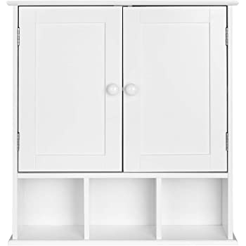 Homfa Campagne Placard Commode Murale Meuble Armoire Suspendue Blanc