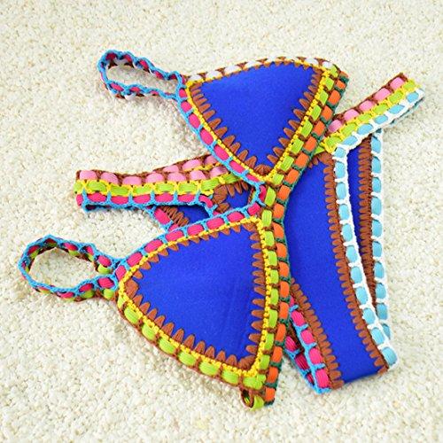 Sitengle Damen Bikini-Sets Handgestrickte Badeanzüge Crochet Neopren Bademode Push up Neon Neopren Farbe Spleiß Bikinis Sport Strandmode Badeanzüge Blau
